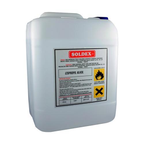 Soldex, OZK-IZO005, Flux, Özel Su & Alkoller, Soldex (İPA) İzopropil Alkol 5 Lt 99,9 Saf - Flux Atığı Temizleme, İnceltme (Sanayi Tip), Isopropyl Alcol