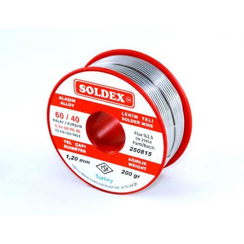 Soldex, OZK-SD6040200-50, Lehimler, Soldex 60-40 Lehim Teli 200 Gr 0,50 mm - Sn:60 / Pb:40