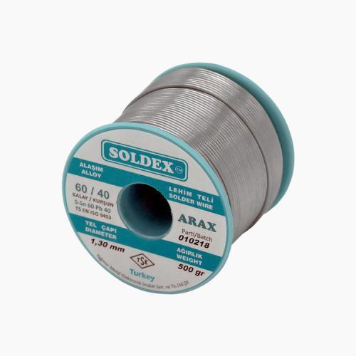 Soldex, OZK-SD6040500ARX-1, Lehimler, Soldex Arax 60-40 Lehim Teli 500 Gr 1 mm - Sn:60 / Pb:40